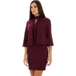 Kardigany damskie: 2-częściowy zestaw w kolorze bordowym – narzutka, sukienka