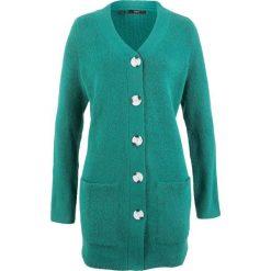 Kardigany damskie: Sweter rozpinany, długi rękaw bonprix dymny szmaragdowy
