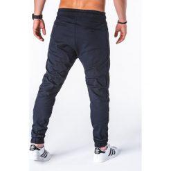 SPODNIE MĘSKIE JOGGERY P670 - GRANATOWE. Czarne joggery męskie marki Ombre Clothing, m, z bawełny, z kapturem. Za 75,00 zł.