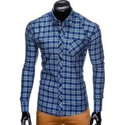 KOSZULA MĘSKA W KRATĘ Z DŁUGIM RĘKAWEM K418 - GRANATOWA/ZIELONA. Brązowe koszule męskie na spinki marki Ombre Clothing, m, z aplikacjami, z kontrastowym kołnierzykiem, z długim rękawem. Za 59,00 zł.