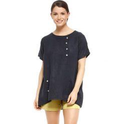"""T-shirty damskie: Lniana koszulka """"Rosa"""" w kolorze granatowym"""
