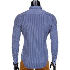 KOSZULA MĘSKA ELEGANCKA Z DŁUGIM RĘKAWEM K349 - GRANATOWA. Brązowe koszule męskie marki Ombre Clothing, m, z aplikacjami, z kontrastowym kołnierzykiem, z długim rękawem. Za 39,00 zł.