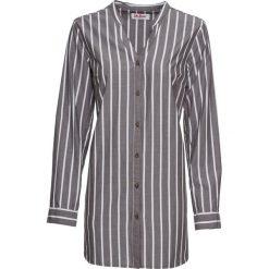 Długa  bluzka bonprix szaro-biały w paski. Białe bluzki asymetryczne bonprix, w paski, z długim rękawem. Za 59,99 zł.