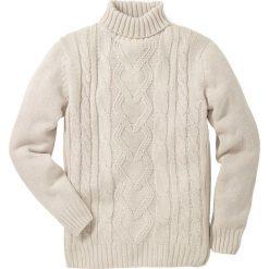 Swetry męskie: Sweter z golfem bonprix kremowy