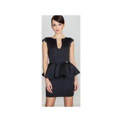 Sukienka K273 Czarny. Czarne sukienki na komunię marki Lenitif, l, z tkaniny, baskinki. Za 139,00 zł.