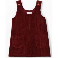 Welurowa sukienka ogrodniczka 1 miesiąc - 3 latka. Brązowe sukienki dziewczęce marki La Redoute Collections, z bawełny, bez rękawów, krótkie, mini. Za 96,98 zł.