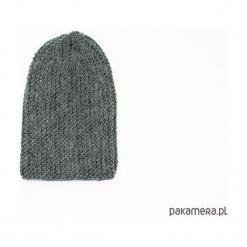Grafitowa długa czapka robiona na drutach. Szare czapki zimowe damskie Pakamera, z poliamidu. Za 86,00 zł.
