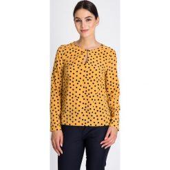 Bluzki asymetryczne: Musztardowa bluzka w czarne grochy QUIOSQUE