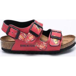 Birkenstock - Sandały dziecięce Milano Disney Cars. Różowe sandały chłopięce Birkenstock, z materiału, na klamry. W wyprzedaży za 219,90 zł.