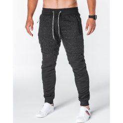 SPODNIE MĘSKIE DRESOWE P642 - CZARNE. Czarne spodnie dresowe męskie Ombre Clothing, z bawełny. Za 55,00 zł.