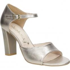 Złote sandały skórzane na słupku Oleksy 2295/C04/000/000/000. Szare sandały damskie na słupku marki Oleksy, ze skóry. Za 238,99 zł.