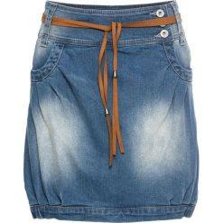 """Spódniczka dżinsowa z paskiem bonprix niebieski """"stone"""". Niebieskie spódniczki bonprix. Za 109,99 zł."""