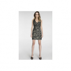 Sukienka w kolorze moro z krótkim zamkiem SL2136. Szare sukienki mini marki Soleil, xxl, moro, z materiału, z krótkim rękawem, dopasowane. Za 119,00 zł.