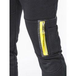 SPODNIE MĘSKIE DRESOWE P658 - CZARNE. Czarne spodnie dresowe męskie Ombre Clothing, z bawełny. Za 48,00 zł.