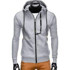 Bluzy męskie: BLUZA MĘSKA ROZPINANA Z KAPTUREM B792 – SZARA