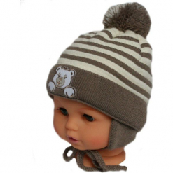 Czapka niemowlęca z szalikiem CZ+S 010D. Brązowe czapeczki niemowlęce Proman. Za 36,70 zł.