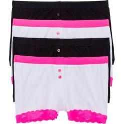 Bokserki damskie: Bokserki damskie (4 pary) bonprix czarno-biało-różowy neonowy