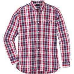 Koszula z długim rękawem Regular Fit bonprix czerwono-niebiesko-biały w kratę. Białe koszule męskie marki bonprix, z klasycznym kołnierzykiem, z długim rękawem. Za 59,99 zł.