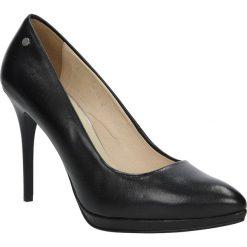Czarne szpilki czółenka skórzane na platformie Oleksy 13P/320. Szare buty ślubne damskie marki Oleksy, ze skóry. Za 238,99 zł.