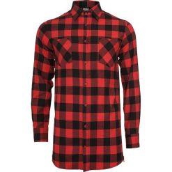 Koszule męskie na spinki: Urban Classics Side-Zip Long Checked Flanell Shirt Koszula czarny/czerwony