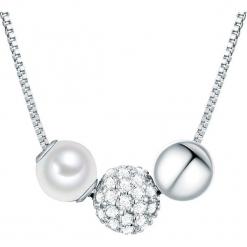 Srebrny naszyjnik w kolorze białym z cyrkoniami - dł. 40 cm. Białe naszyjniki damskie marki Sinsay. W wyprzedaży za 159,95 zł.