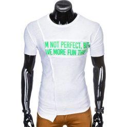 T-shirty męskie: T-SHIRT MĘSKI Z NADRUKIEM S976 - BIAŁY