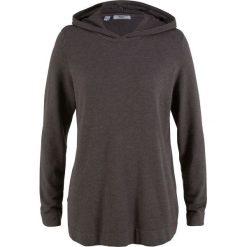 Swetry klasyczne damskie: Sweter z kapturem bonprix szary melanż