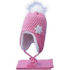 Czapka dziecięca z szalikiem CZ+S 043D różowo-biała r. 48-50. Białe czapeczki niemowlęce Proman. Za 52,11 zł.