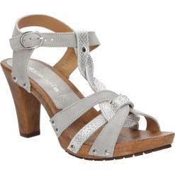 Sandały srebrne skórzane Tamaris 1-28349-28. Szare sandały damskie marki Tamaris, z materiału. Za 169,99 zł.