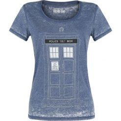 Doctor Who Tardis Koszulka damska odcienie niebieskiego. Niebieskie t-shirty damskie Doctor Who, xxl, z nadrukiem, z okrągłym kołnierzem. Za 62,90 zł.