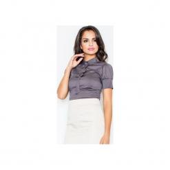 Bluzka M008 Szary. Szare bluzki z odkrytymi ramionami marki FIGL, m, z bawełny, eleganckie, z asymetrycznym kołnierzem, z długim rękawem. Za 73,00 zł.