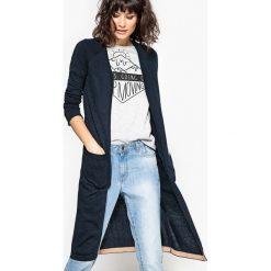 Długi sweter rozpinany z dekoltem w serek. Szare kardigany damskie marki La Redoute Collections, m, z bawełny, z kapturem. Za 146,96 zł.