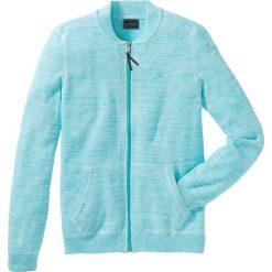 Sweter rozpinany Regular Fit bonprix morsko-biały melanż. Niebieskie kardigany męskie marki bonprix, l, z haftami. Za 49,99 zł.