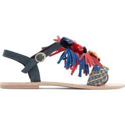 Rzymianki damskie: Skórzane sandały z pomponikami, szeroka stopa 38-45