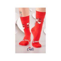 Skarpety MIŁOŚĆ. Czerwone skarpetki damskie Wolne skarpetki, w kolorowe wzory. Za 12,00 zł.
