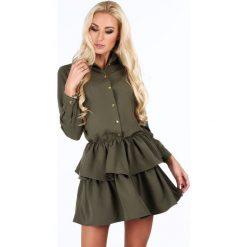 Sukienka z falbanami khaki 5055. Brązowe sukienki z falbanami Fasardi, l. Za 109,00 zł.