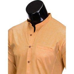 KOSZULA MĘSKA Z DŁUGIM RĘKAWEM K353 - POMARAŃCZOWA. Brązowe koszule męskie na spinki marki Ombre Clothing, m, z aplikacjami, z kontrastowym kołnierzykiem, z długim rękawem. Za 59,00 zł.