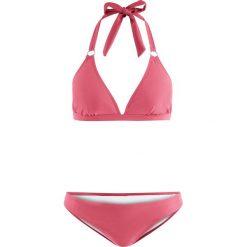 Stroje dwuczęściowe damskie: Bikini z ramiączkami wiązanymi na szyi (2 części) bonprix jeżynowy