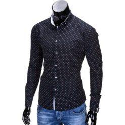 KOSZULA MĘSKA ELEGANCKA Z DŁUGIM RĘKAWEM K314 - CZARNA. Brązowe koszule męskie na spinki marki Ombre Clothing, m, z aplikacjami, z kontrastowym kołnierzykiem, z długim rękawem. Za 59,00 zł.