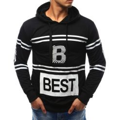Bluzy męskie: Bluza męska z kapturem czarna (bx2377)