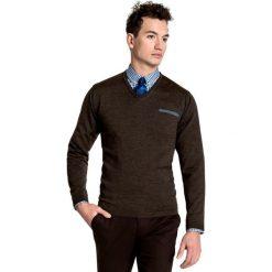 Sweter Dario SWK000023. Brązowe swetry klasyczne męskie Giacomo Conti, m, z wełny. Za 229,00 zł.
