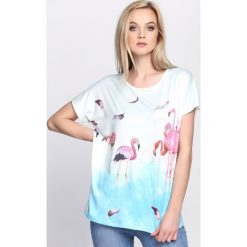 T-shirty damskie: Jasnoniebieski T-shirt Happiness