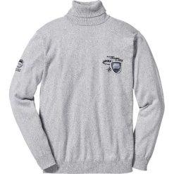 Sweter z golfem Regular Fit bonprix jasnoszary melanż. Szare golfy męskie marki bonprix, m, z haftami. Za 37,99 zł.