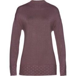 Swetry damskie: Sweter z ozdobnymi kamieniami bonprix brązowy