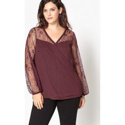 Bluzki asymetryczne: Bluzka z dekoltem V, jednokolorowa, długi rękaw z koronki