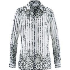Bluzka z nadrukiem bonprix biało-czarny z nadrukiem. Białe bluzki asymetryczne bonprix, z nadrukiem, z materiału, z długim rękawem. Za 37,99 zł.