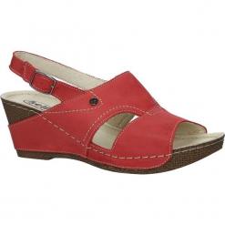 Czerwone sandały skórzane na koturnie Helios 217. Czerwone sandały damskie marki Helios, na koturnie. Za 168,99 zł.