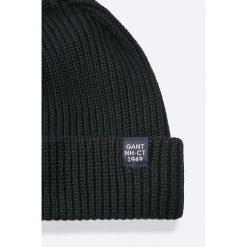 Gant - Czapka. Czarne czapki zimowe męskie marki GANT, na zimę, z bawełny. W wyprzedaży za 119,90 zł.