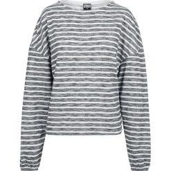 Bluzy damskie: Urban Classics Ladies Oversize 2-Tone Stripe Pullover Bluza damska odcienie szarego/biały