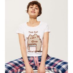Piżamy damskie: T-shirt piżamowy pusheen – Wielobarwn